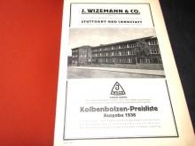 JWECO Wizemann & Co Preisliste Kolbenbolzten 1936 (C19825)