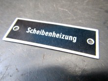 """Schild """"Scheibenheizung"""" Aluschild DDR (C18542)"""